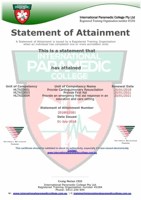Replacement Certificate Email Re Issue International Paramedic