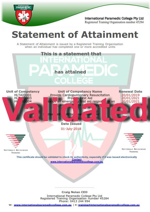 paramedic college international certificates course validation rto issued line certificate